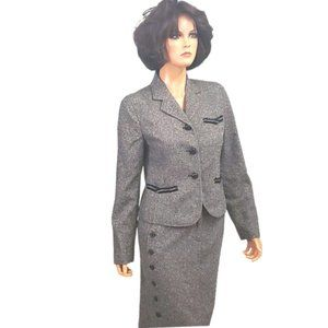 Dark Brown Tweed Skirt Suit